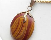 Petrified Wood Pendant on Gold Plated Chain