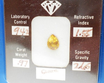 0.97 CT Citrine Pear Shaped Loose Stone With Certificate and Folder