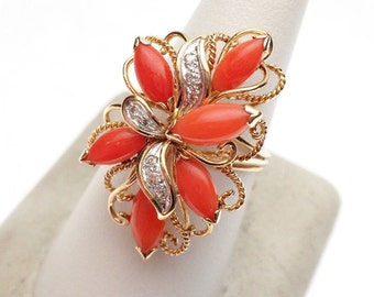 Coral and Diamond Long Cluster Ring 14 KY