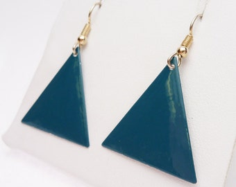 Teal Blue Triangle Painted Dangle Earrings 1980s