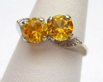 10kt November Synthetic Yellow Birthstone Ring