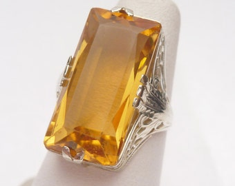 14kt Synthetic Citrine Art Deco Cocktail Ring 1920s