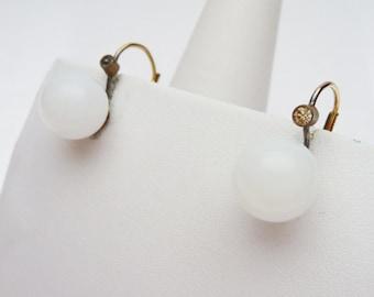 White Glass Bead and Rhinestone Drop Earrings