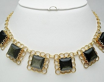 Black\/Brown Square Necklace and Earring Set