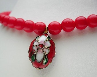 Red Cloisonne Bead Necklace and Earring Set
