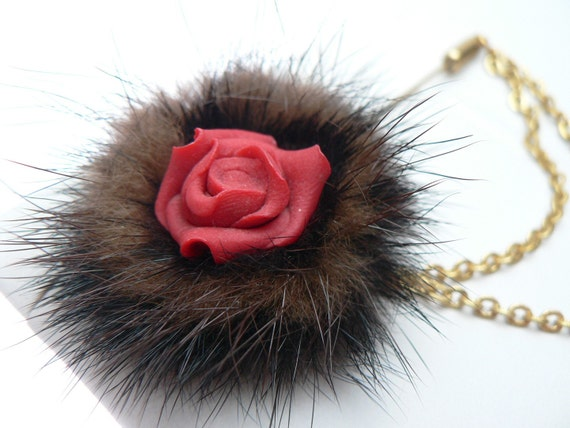 Mink Fur and Red Resin Rose Brooch With Chain