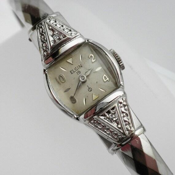 Ladys Elgin Wind Up Working Diamond Bangle Cuff Watch