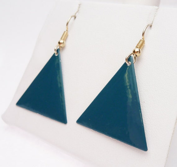 teal blue triangle painted dangle earrings 1980s. Black Bedroom Furniture Sets. Home Design Ideas