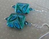 CARRIBBEAN BEACH BLUES lampwork earrings