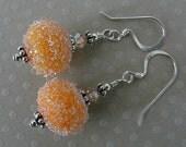 ORANGE SODA LAMPWORK  sugar  bead earrings