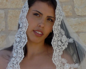 Cathedral Bridal Veil Mantilla - Beaded Lace, Spanish lace veil, Catholic lace veil,  SILVER thread on white or Ivory, Gold thread on ivory