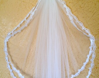 Lace veil in two tier with beaded lace edge, super wide, white or ivory, hip length