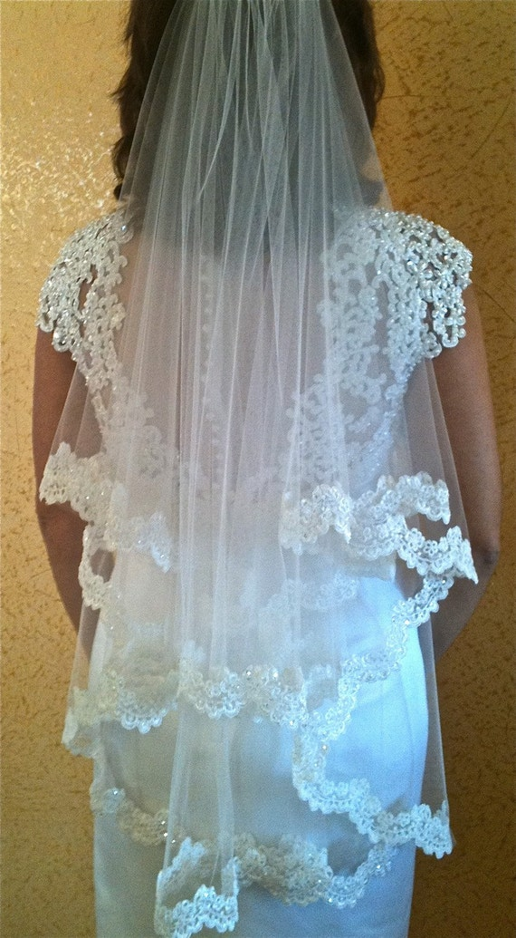 Two layers bridal lace veil with beaded scalloped lace edge fingertip length, two tier wedding lace veil with blusher in fingertip