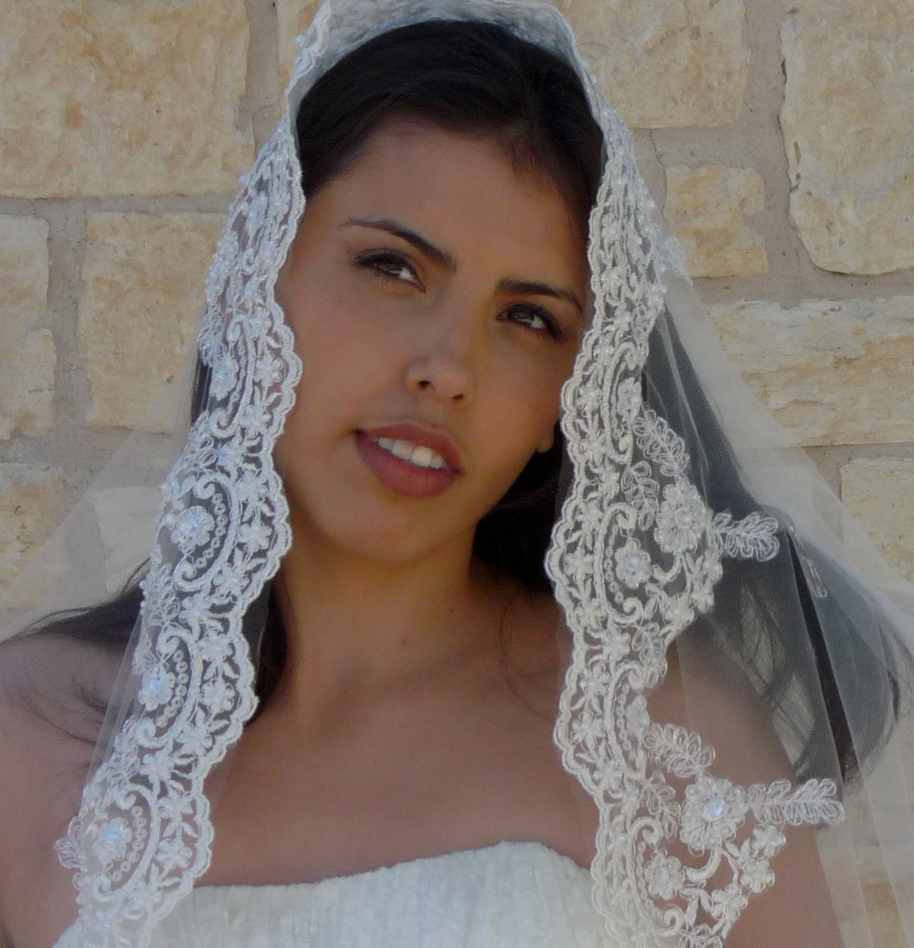 Cathedral Bridal Veil Mantilla Beaded Lace Spanish lace