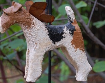 carved wire fox terrier
