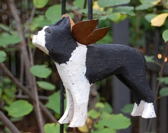 Boston terrier carved