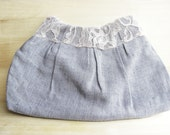 Pink Lacey Clutch Purse Shabby Chic Light Pleated Denim