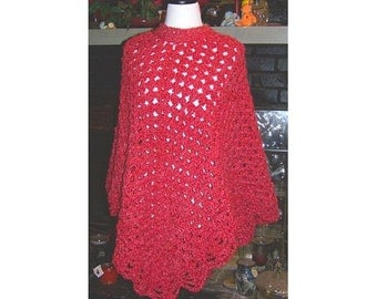 Brick Red Crocheted Poncho