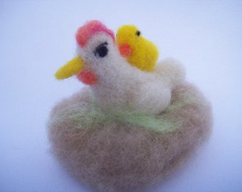 OOAK Springtime White Hen And Chick Needle Felted Soft Sculpture