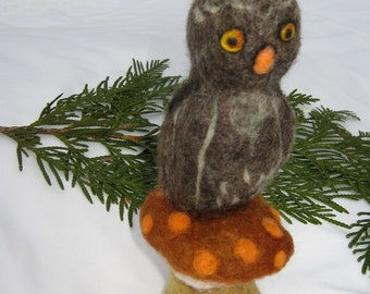 OOAK Little Gray Owl Needle Felted Soft Sculpture