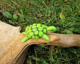 OOAK Little Green Turtle Needle Felted Soft Sculpture