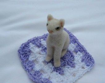 OOAK White Kitty Cat Needle Felted Soft Sculpture