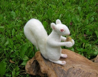 OOAK White Albino Squirrel Needle Felted Soft Sculpture