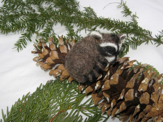 OOAK Sleeping Baby Raccoon Needle Felted Soft Sculpture