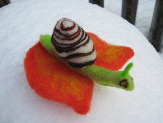 OOAK Striped  Woodland Green Snail Needle Felted Soft Sculpture