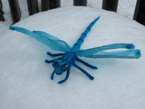 OOAK Blue Fairy DragonFly Needle Felted Soft Sculpture