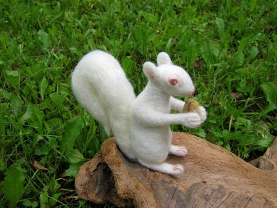 OOAK White Albino Squirrel Needle Felted Soft Sculpture