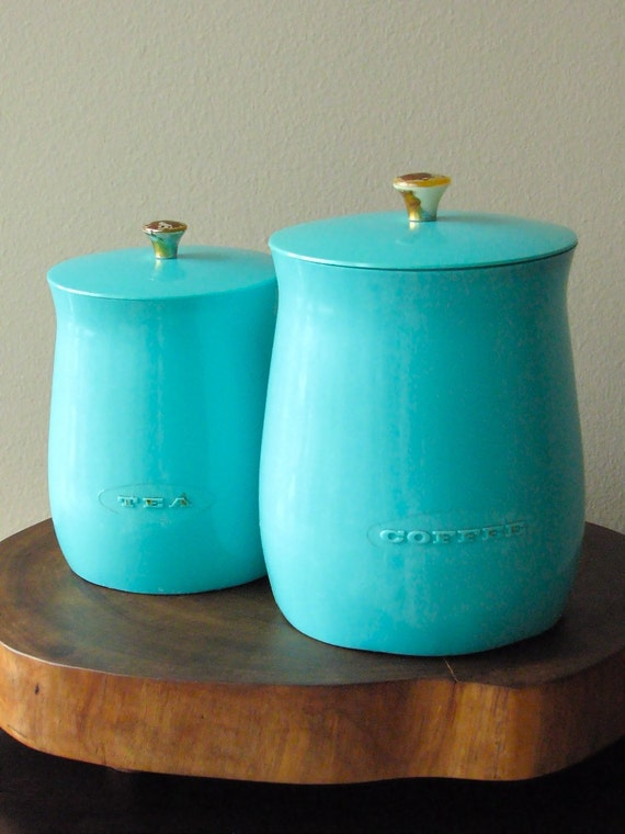 Vintage Plas-Tex Turquoise Kitchen Canisters