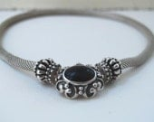Vintage Choker, Solid Sterling Silver Mesh and Onyx Choker Necklace signed Stocko with Snap Closure