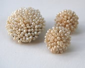 Beautiful Romantic Vintage Ivory Genuine Rice Pearl Round Cluster Earrings and Brooch Demi Parure