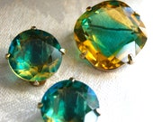 Gorgeous Vintage Bergere signed Green and Gold Faceted Glass Demi Parure