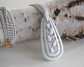 SALE Vintage White Enameled Teardrop Pendant and Chain