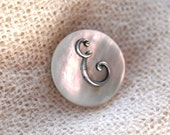 Sweet Antique, Mother of Pearl and Brass , Initial E Brooch Pin