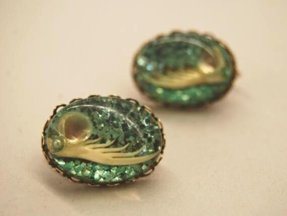 Vintage Aqua Blue Lucite earrings with seashells