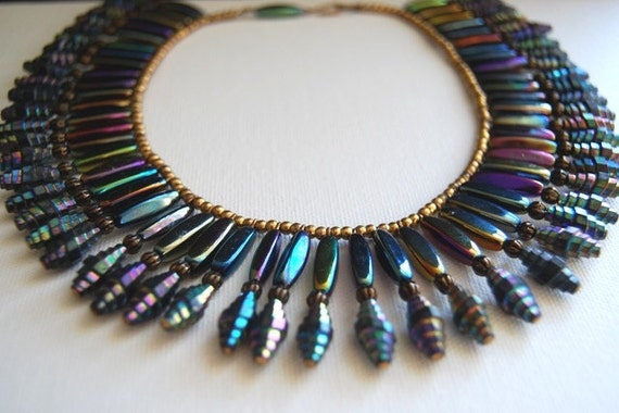 Fabulous Vintage Peacock Glass Beaded. Fringe Collar.Ethnic Necklace
