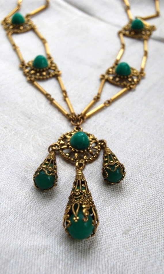 Dramatic Vintage Art Deco Style, Gold Filagree and Green Glass, Tassel Necklace