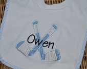 Blue Gingham Hockey Stick Pullover Bib