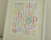 The Owlphabet - Owl Themed Alphabet Nursery Prints - Digital File