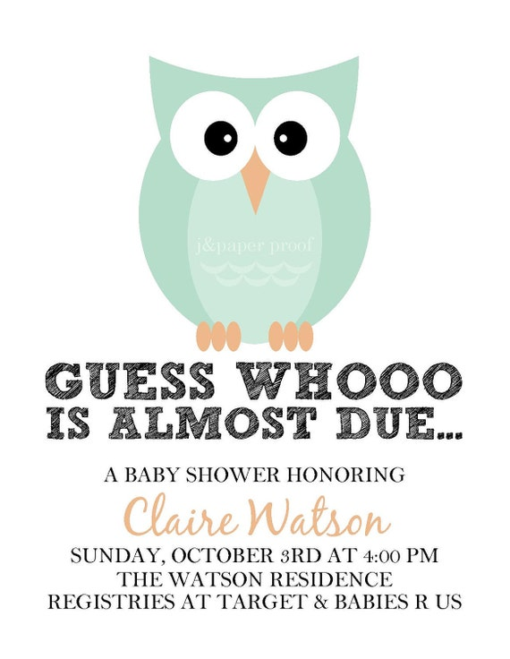 Owl Baby Shower Invitations - Printable Digital File