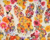 Japanese Cotton Print Fabric - Cosmo Textile, Half Yard - Kawaii Animail, Rabbit & Cat, Flower Floral - NT252