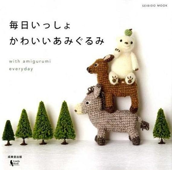 With Amigurumi Everyday - Japanese Crochet Pattern Book - Kawaii Cat, Dog, Donkey, Bambi, etc... - B604