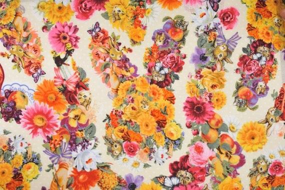 Japanese Cotton Print Fabric - Cosmo Textile, Half Yard - Kawaii Animail, Rabbit & Cat, Flower Floral - NT252