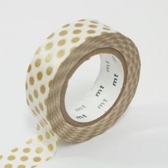 Dots Gold - Japanese mt  Deco Washi Masking Tape, Scrapbooking, Collage, Gift Wrapping, MT01D134