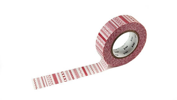 Lovely Stitch Red  - Japanese mt  Deco Washi Masking Tape, Scrapbooking, Collage, Gift Wrapping, MT01D105