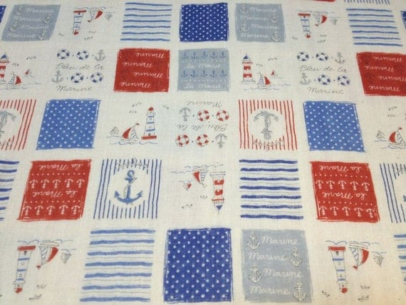 Japanese Cotton Double Gauze Fabric - Kokka, Half Yard - Kawaii Marine Yacht Print - NT364