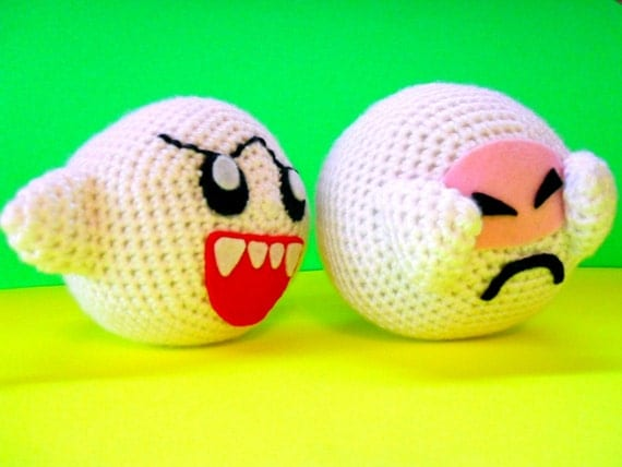 ON SALE NOW Shy Boo - Amigurumi Crochet Plush Toy Inspired by Super Mario Bros